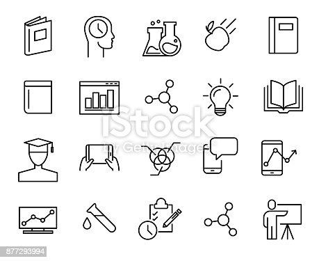 Simple collection of e-learning related line icons. Thin line vector set of signs for infographic, icon, app development and website design. Premium symbols isolated on a white background.