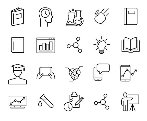 stockillustraties, clipart, cartoons en iconen met eenvoudige collectie van e-learning verwante lijn pictogrammen. - levend organisme