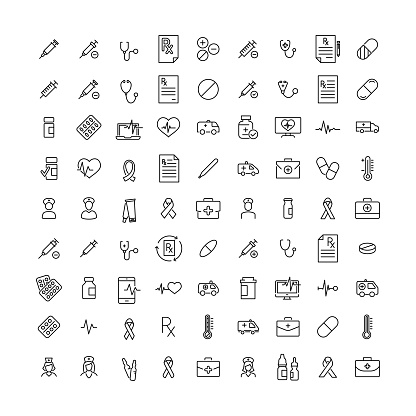 Simple collection of health related line icons. clipart