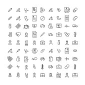 Simple collection of health related line icons. Thin line vector set of signs for infographic, logo, app development and website design. Premium symbols isolated on a white background.