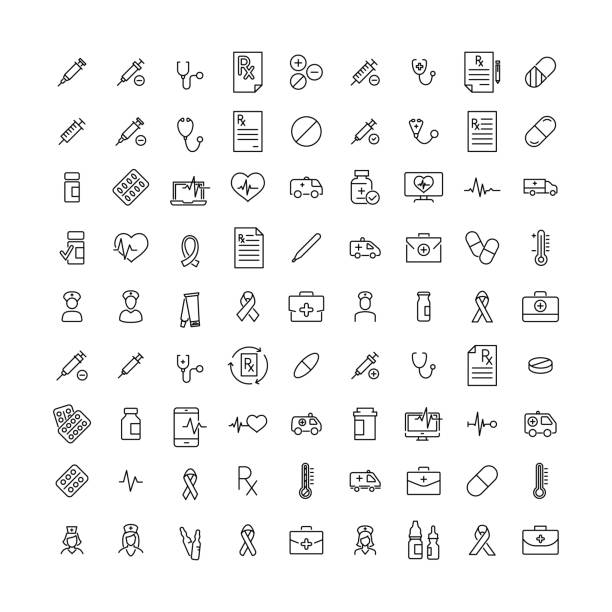illustrazioni stock, clip art, cartoni animati e icone di tendenza di simple collection of health related line icons. - farmaco