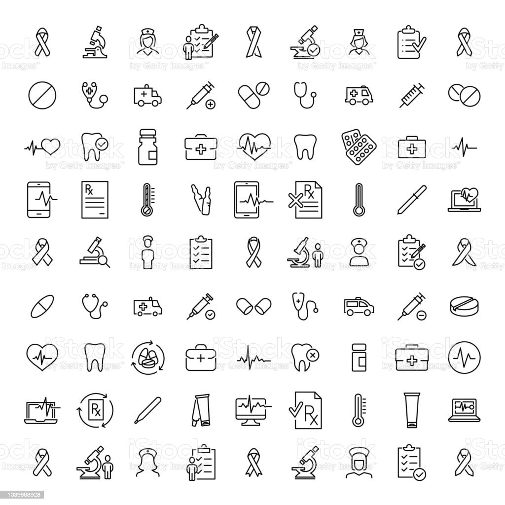 Simple collection of healthcare related line icons. - arte vettoriale royalty-free di Abuso di sostanze