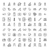 Simple collection of healthcare related line icons. Thin line vector set of signs for infographic, logo, app development and website design. Premium symbols isolated on a white background.