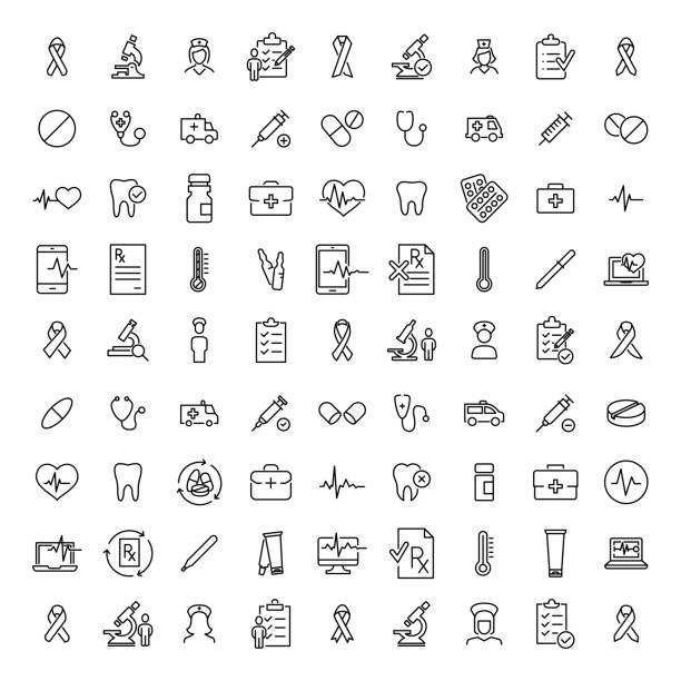 Simple collection of healthcare related line icons. Simple collection of healthcare related line icons. Thin line vector set of signs for infographic, logo, app development and website design. Premium symbols isolated on a white background. medical stock illustrations