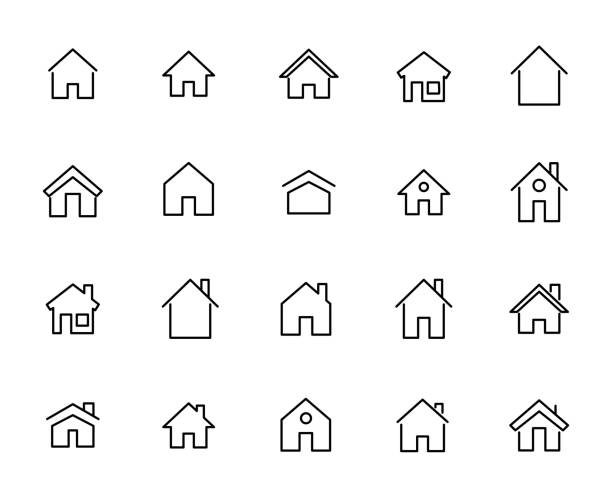 simple collection of home related line icons. - strona startowa stock illustrations