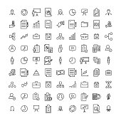 Simple collection of management related line icons. Thin line vector set of signs for infographic, logo, app development and website design. Premium symbols isolated on a white background.