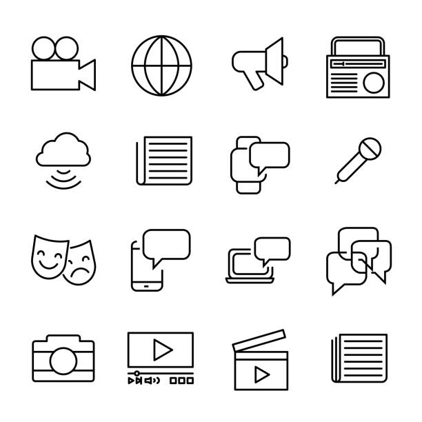 bildbanksillustrationer, clip art samt tecknat material och ikoner med enkel insamling av massmedia relaterad rad ikoner. - paper mass