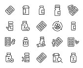 Simple collection of medical drug related line icons