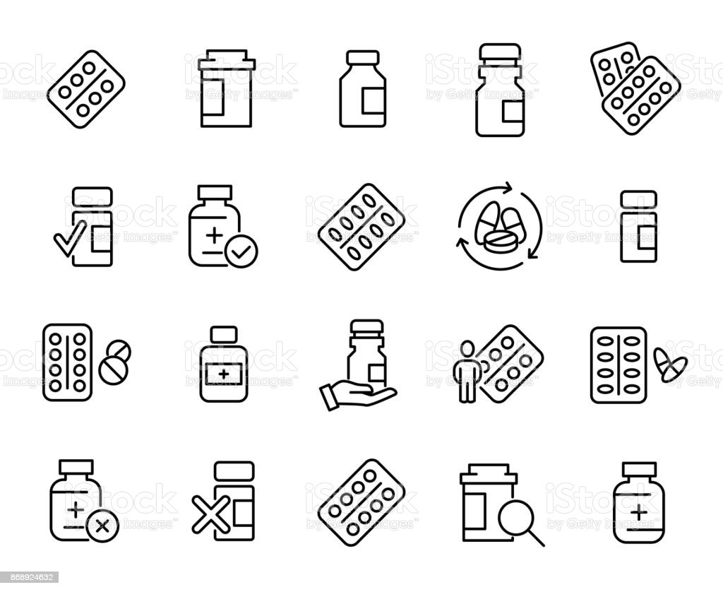 Simple collection of medical drug related line icons vector art illustration