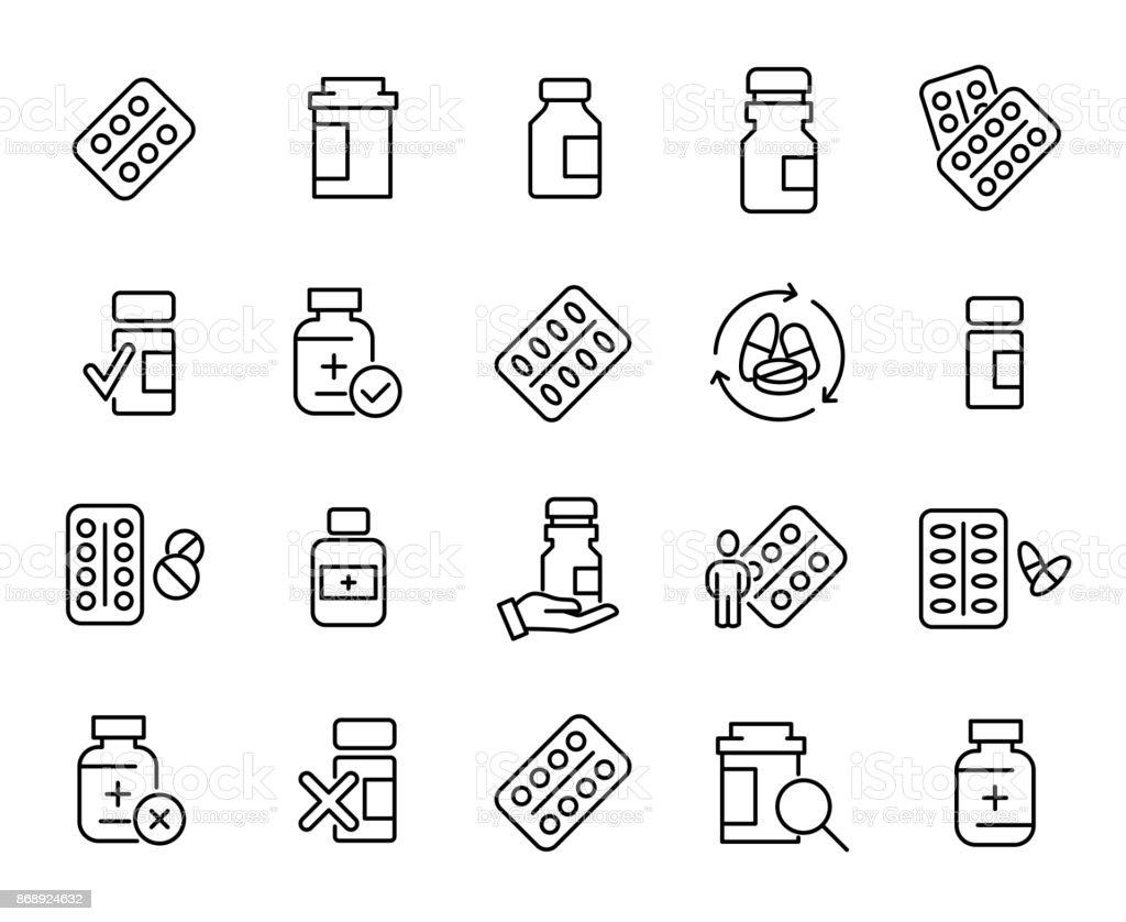Simple colección de drogas médicas relacionadas con los iconos de línea - ilustración de arte vectorial