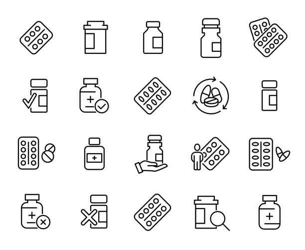 illustrazioni stock, clip art, cartoni animati e icone di tendenza di simple collection of medical drug related line icons - prescrizione medica