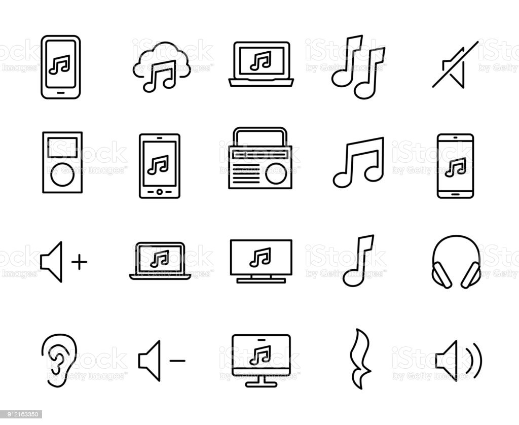 Simple collection of mobile music related line icons. vector art illustration