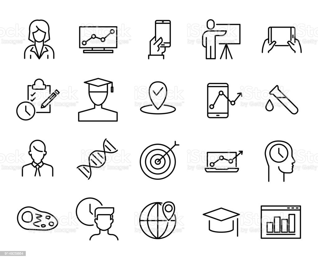 Simple collection of online education related line icons. vector art illustration