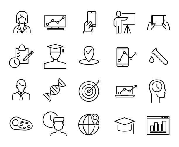 ilustrações, clipart, desenhos animados e ícones de coleção de educação on-line simples relacionados com ícones de linha. - mobile