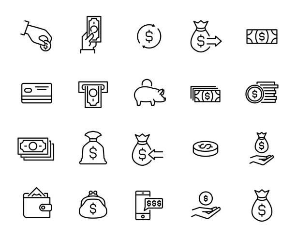 ilustrações, clipart, desenhos animados e ícones de coleção de pagamento simples relacionados com ícones de linha. - mobile