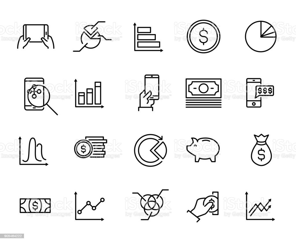 Simple collection of personal budget related line icons. vector art illustration