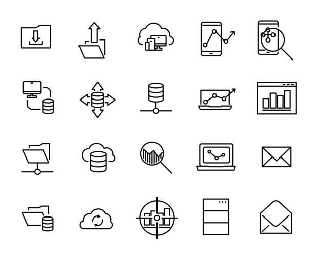 ilustrações, clipart, desenhos animados e ícones de coleção de ícones relacionados a linha de programação simples. - mobile