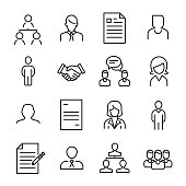 Simple collection of recruitment related line icons.