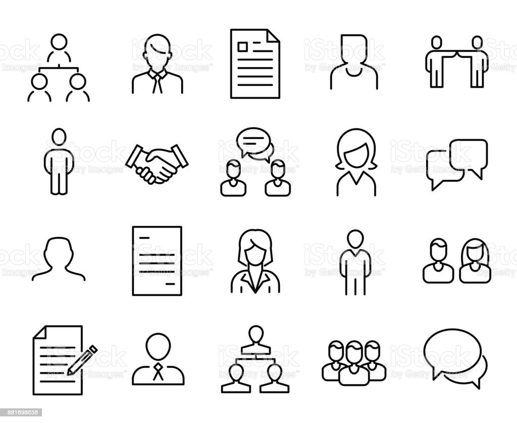 Simple collection of recruitment related line icons. vector art illustration