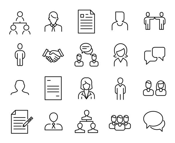 Simple collection of recruitment related line icons. Simple collection of recruitment related line icons. Thin line vector set of signs for infographic, logo, app development and website design. Premium symbols isolated on a white background. application form stock illustrations