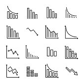Simple collection of reduction related line icons.