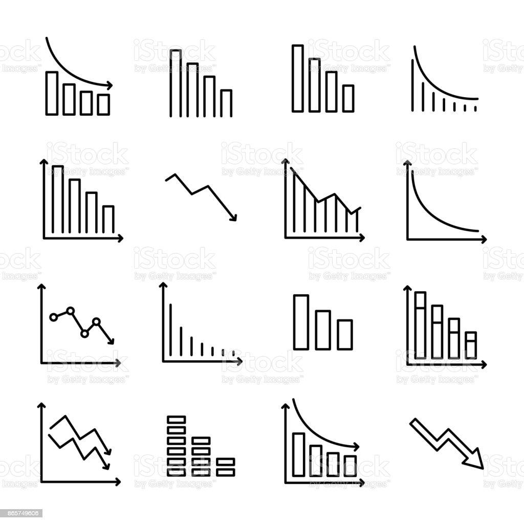 Une collection simple de réduction associés icônes de ligne. - Illustration vectorielle