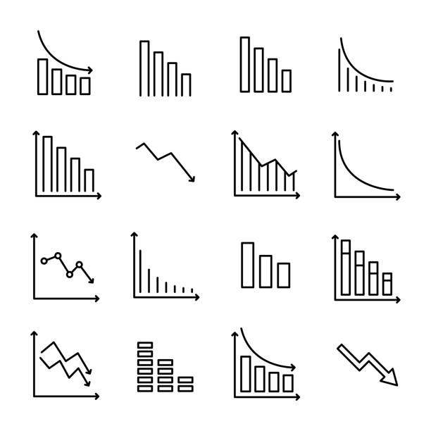 Simple collection of reduction related line icons. Simple collection of reduction related line icons. Thin line vector set of signs for infographic, logo, app development and website design. Premium symbols isolated on a white background. recession stock illustrations