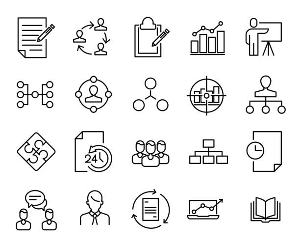 Simple collection of scrum agile related line icons. vector art illustration