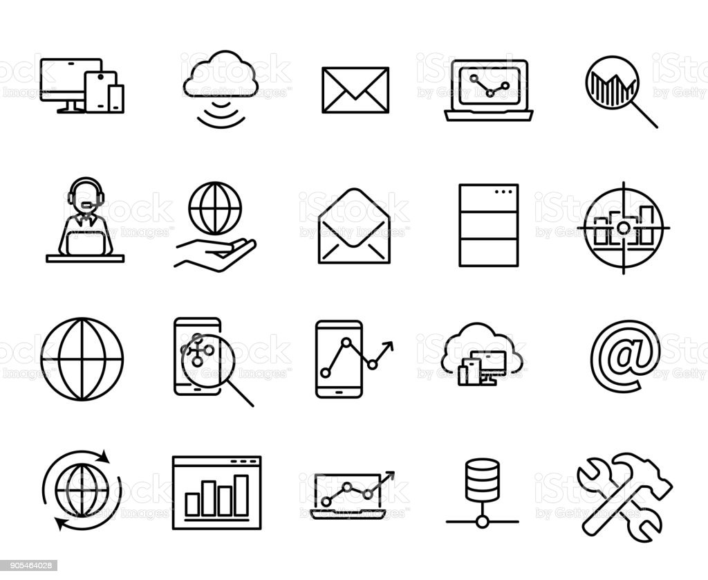 Simple collection of SEO related line icons. vector art illustration