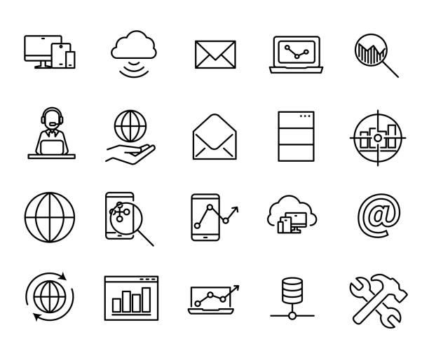 ilustrações, clipart, desenhos animados e ícones de coleção de seo simples relacionados com ícones de linha. - mobile