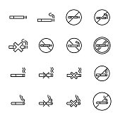 Simple collection of smoking related line icons. Thin line vector set of signs for infographic, logo, app development and website design. Premium symbols isolated on a white background.