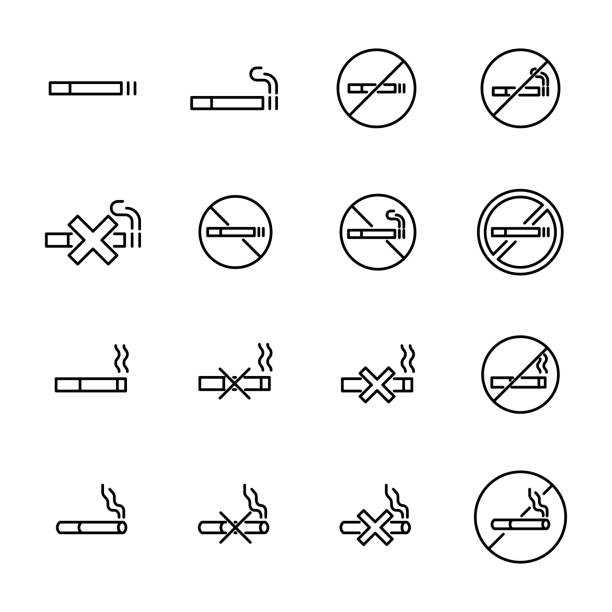 simple collection of smoking related line icons - smoke stock illustrations