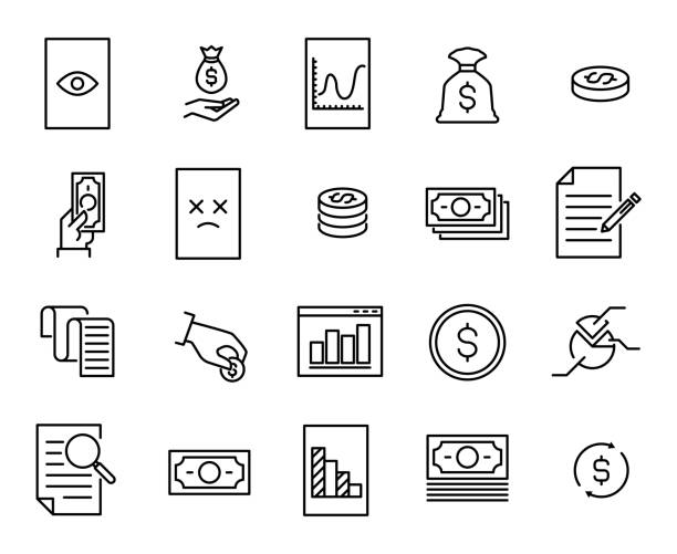 Simple collection of tax related line icons. Simple collection of tax related line icons. Thin line vector set of signs for infographic, logo, app development and website design. Premium symbols isolated on a white background. budget symbols stock illustrations