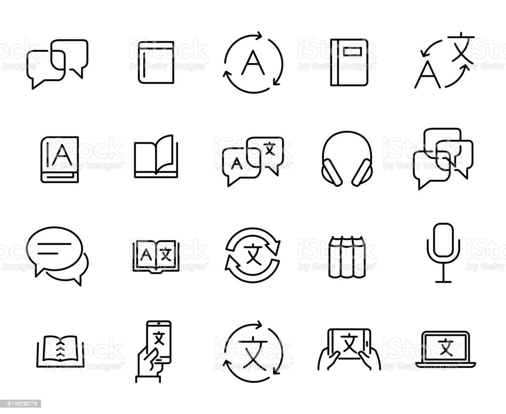 Simple collection of translate related line icons. vector art illustration