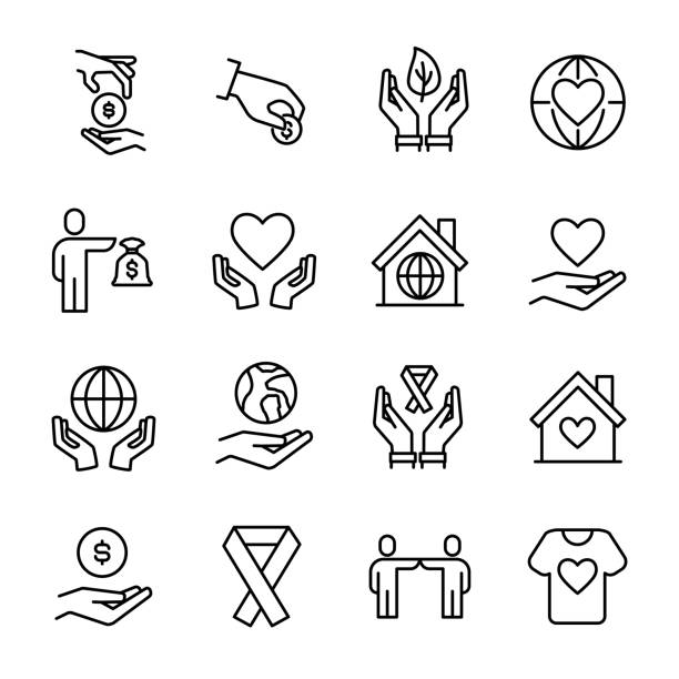 Simple collection of volunteering related line icons. Simple collection of volunteering related line icons. Thin line vector set of signs for infographic, logo, app development and website design. Premium symbols isolated on a white background. relief emotion stock illustrations