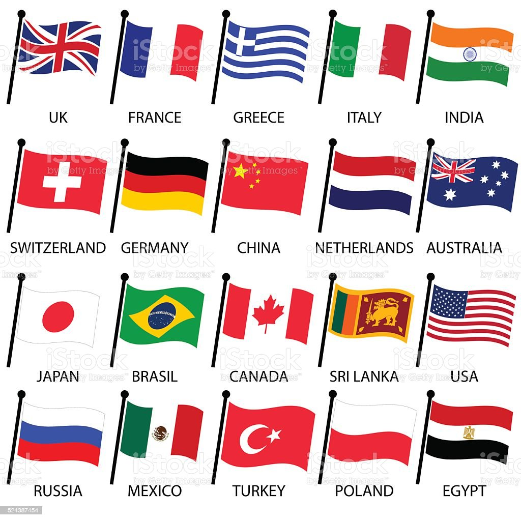 simple color curved flags of different country collection eps10 vector art illustration