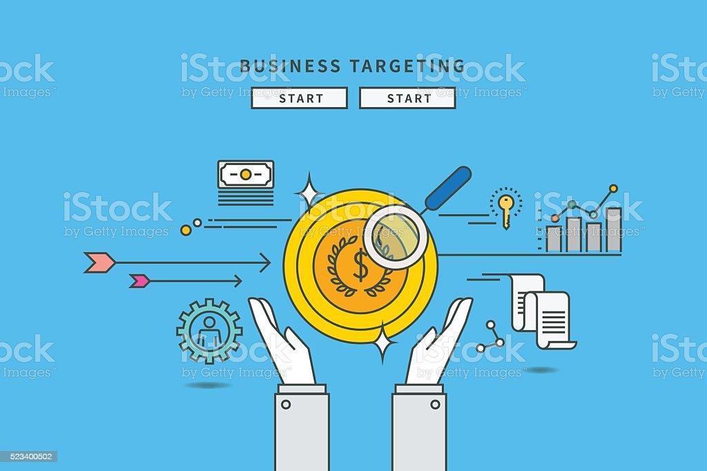 simple couleur ligne design plat d'affaires de target - Illustration vectorielle