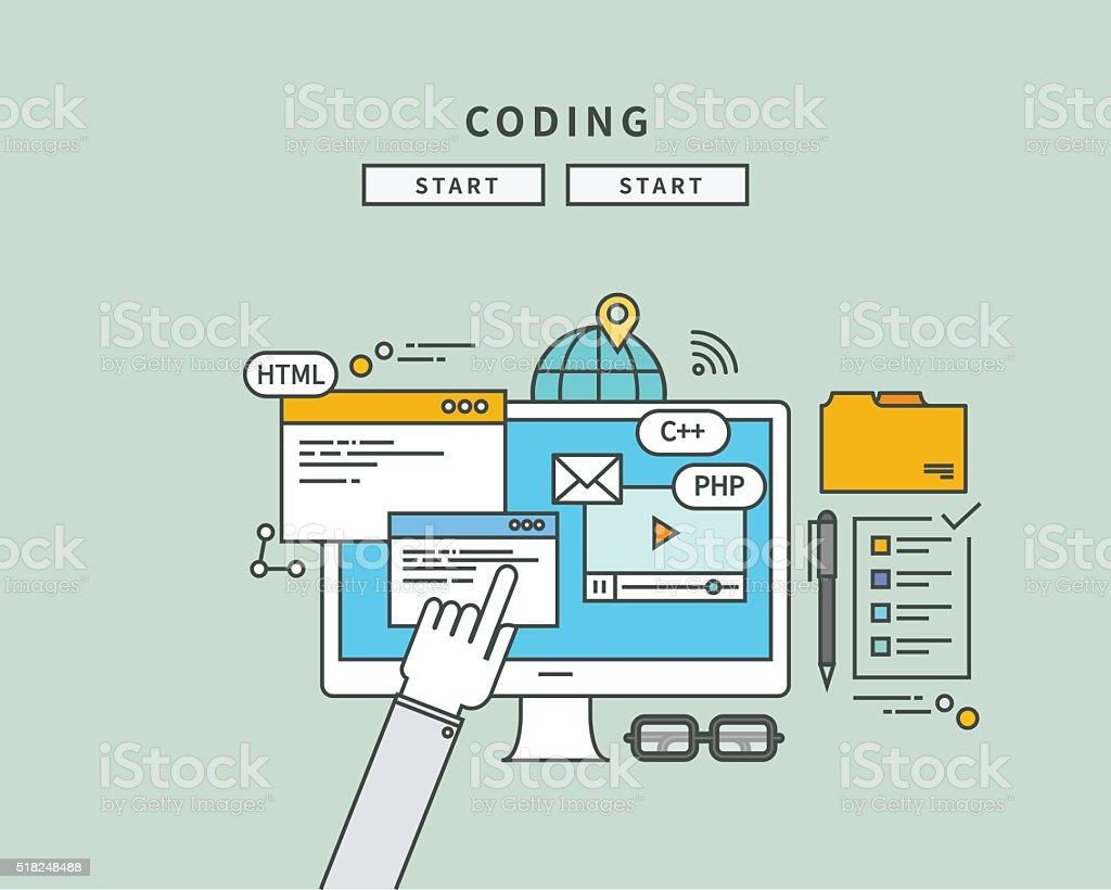 Simple Color Line Flat Design Of Coding Modern Vector Illustration ...