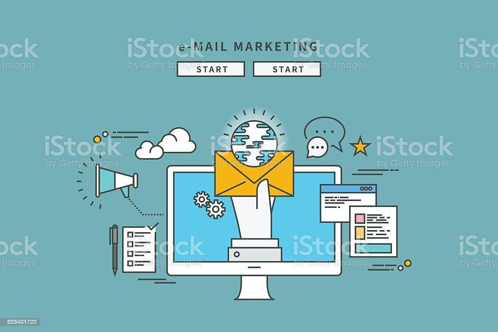 simple couleur ligne design plat de Marketing par courrier électronique - Illustration vectorielle