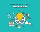 simple color line flat design of network protection