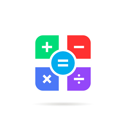 simple color math icon with shadow