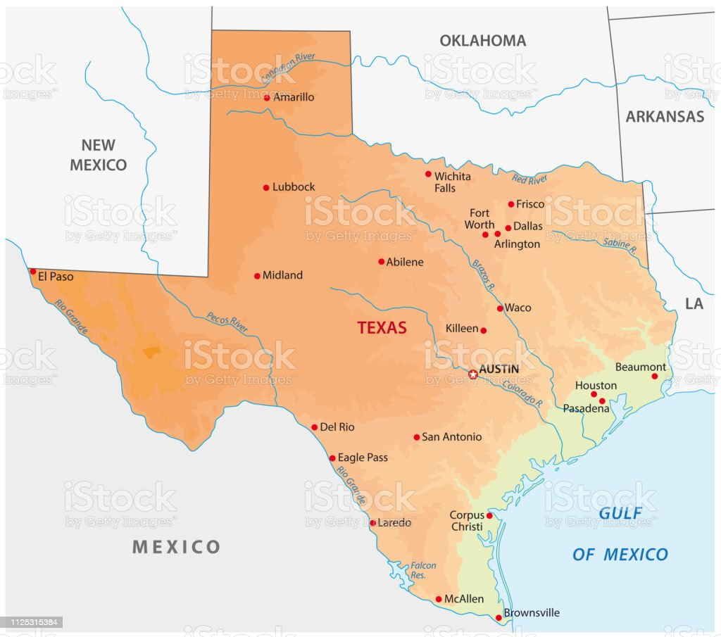 Simple Colored Texas State Physical Vector Map Stock ...
