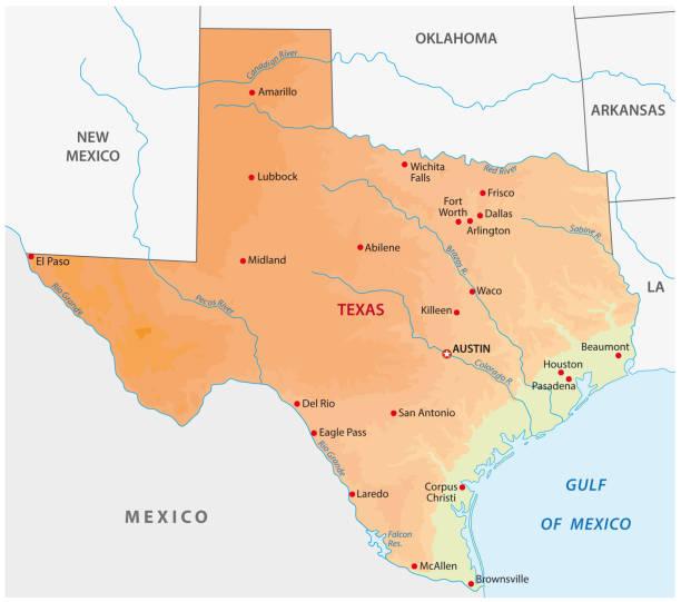 einfache farbige texas zustand physischen vektorkarte - buchten stock-grafiken, -clipart, -cartoons und -symbole