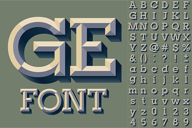simple colored version of old school beveled alphabet - alphabet clipart stock illustrations