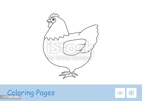 Simple colorless thick contour image of a staying chicken for the youngest children coloring book. Domestic animals at farm, bird yard and on countryside. Fun and learning for kids.