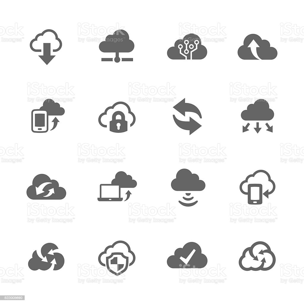 Simple Computer Cloud Icons vector art illustration