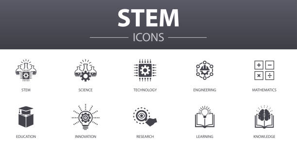 STEM simple concept icons set. Contains such icons as science, technology, engineering, mathematics and more, can be used for web, logo, UI/UX STEM simple concept icons set. Contains such icons as science, technology, engineering, mathematics and more, can be used for web, logo, UI/UX science icons stock illustrations