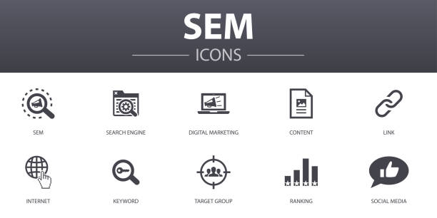 SEM simple concept icons set. Contains such icons as Search engine, Digital marketing, Content, Internet and more, can be used for web, logo, UI/UX SEM simple concept icons set. Contains such icons as Search engine, Digital marketing, Content, Internet and more, can be used for web, logo, UI/UX sem stock illustrations