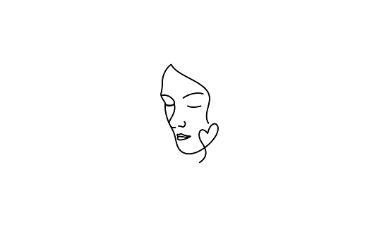 Simple Continuous Line Face Tattoo Vector Illustration
