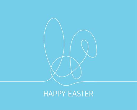 Simple continuous white line drawing Easter bunny on blue background. Minimalist Easter day concept background.